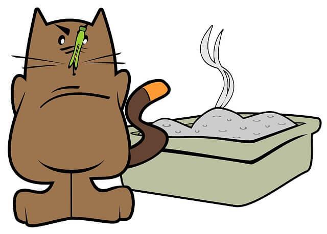 Katze steht vor einem Katzenklo und hat ne Wäscheklammer an der Nase (Cartoon)